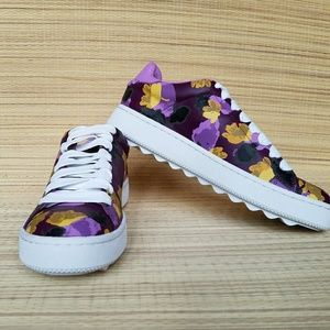 *Host Pick** Coach LOW LTHR Sneakers Purple Floral